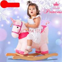 木马儿童摇摇马实木带音乐两用宝宝摇摇车摇椅婴儿周岁 (带轮款)+礼品袋
