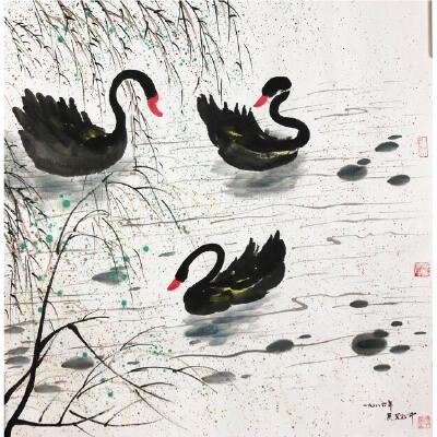 吴冠中《天鹅》著名画家