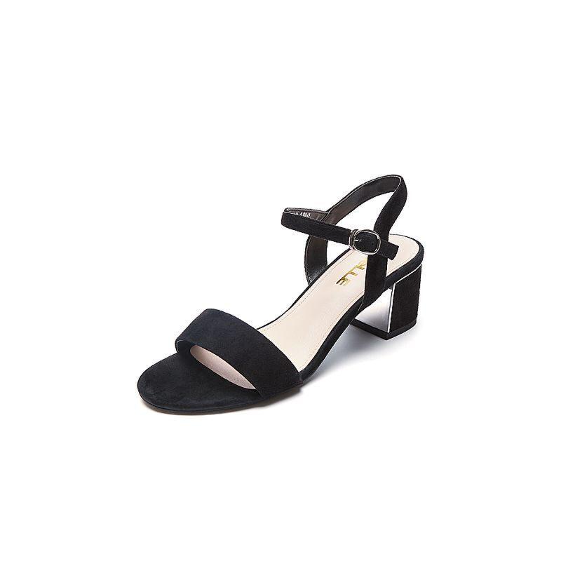 Belle/百丽夏季专柜同款羊绒皮革女皮凉鞋BLA30BL7