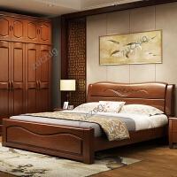 zuczug实木床主卧双人床1.8米经济型现代简约婚床1.5m中式高箱储物大床