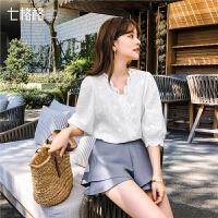 七格格白色蕾丝上衣春季女2019夏新款韩版百搭衬衫很仙的小衫洋气