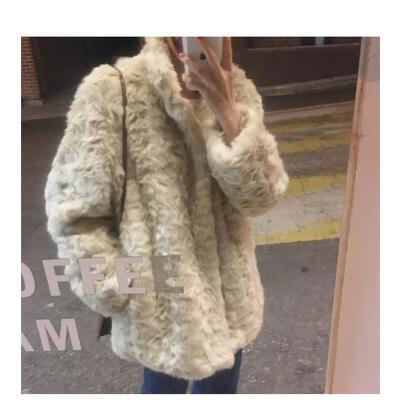 韩国秋冬新款环保人造皮草羊羔毛毛外套女暗扣毛绒绒短外套复活款