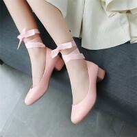 大童女童皮鞋四季单鞋小女孩绑带公主鞋儿童高跟鞋演出礼服鞋