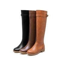 韩版显瘦防滑低跟女鞋子皮带扣时尚百搭过膝长靴子冬秋休闲骑士靴软底