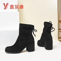 意尔康2018新款女靴蝴蝶结绑带短靴粗跟加绒保暖女短靴