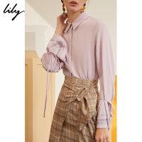 【不打烊价:167元】 Lily春新款女装洋气少女气质长袖通勤系带衬衫119140C4223