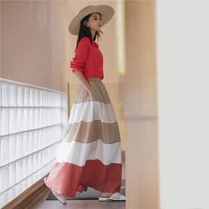 七格格复古卡其色半身裙秋装女2018新款时尚半身长裙子蛋糕裙夏季