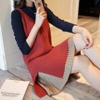 2018春装新款女装打底衫毛衣背心连衣裙套装宽松时尚针织衫两件套