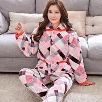 冬季珊瑚绒睡衣女三层加厚夹棉睡衣法兰绒长袖中年家居服保暖套装