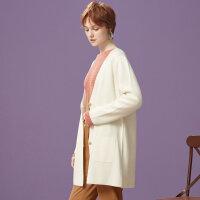 【1件2.5折到手价:74.8】美特斯邦威针织开衫女中长款秋季新款披挂式开衫修身百搭学生外套