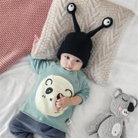 婴儿秋装男女宝宝衣服0-3岁新生儿熊猫印花上衣外出纯棉T恤潮