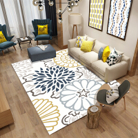 ins现代简约北欧风地毯客厅沙发茶几垫家用欧式卧室长方形可机洗 白色 白底大花