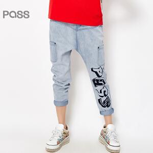 PASS女装春装新款 学生简约字母印花宽松小脚长牛仔裤6611815011