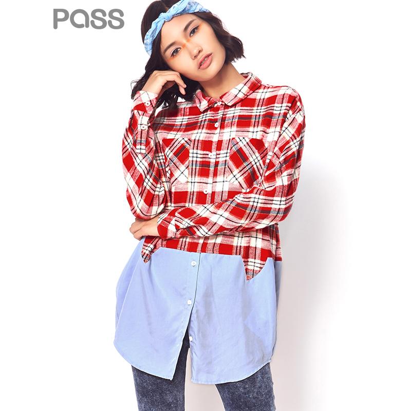 【不退不换】PASS潮牌秋装新款 宽松拼接格纹假两件衬衫女6630212035