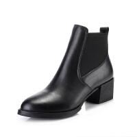 靴子女短靴2018秋冬新款韩版百搭真皮切尔西短靴女英伦风马丁靴潮真皮