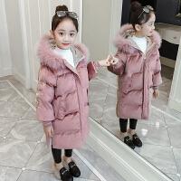 女童羽绒棉衣儿童冬装金丝绒外套冬季韩版中长款棉袄