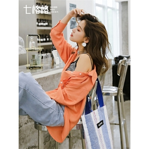 七格格时尚纯色衬衫女韩版春装2019新款长袖复古宽松不规则上衣潮