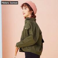 【618返场购,每满200减100】美特斯邦威夹克外套女短款2018春新品小个子外套女bf风韩版潮流X