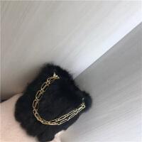 兔毛水桶包时尚链条手提包2018新款复古毛毛单肩斜跨包潮女包百搭