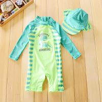 儿童连体泳衣 宝宝婴儿男童帅气恐龙沙滩防晒冲浪服 绿色009+帽子 24-36m 90-105