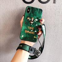 祖母绿网红同款XS手机套Max苹果x手机壳iPhone7plus挂绳女款8p潮 iPhoneX 祖母绿 绿蜜蜂【挂绳】