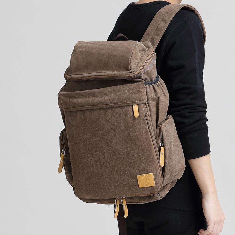 帆布双肩包男士女士休闲复古户外运动背包旅行大容量电脑书包