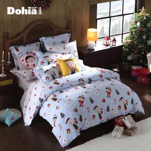 多喜爱家纺樱桃小丸子系列新品纯棉磨毛卡通四件套床上用品小丸子之圣诞假日