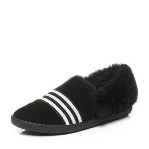 BASTO/百思图2017冬季羊绒皮条纹舒适保暖平跟女休闲鞋17095DM7