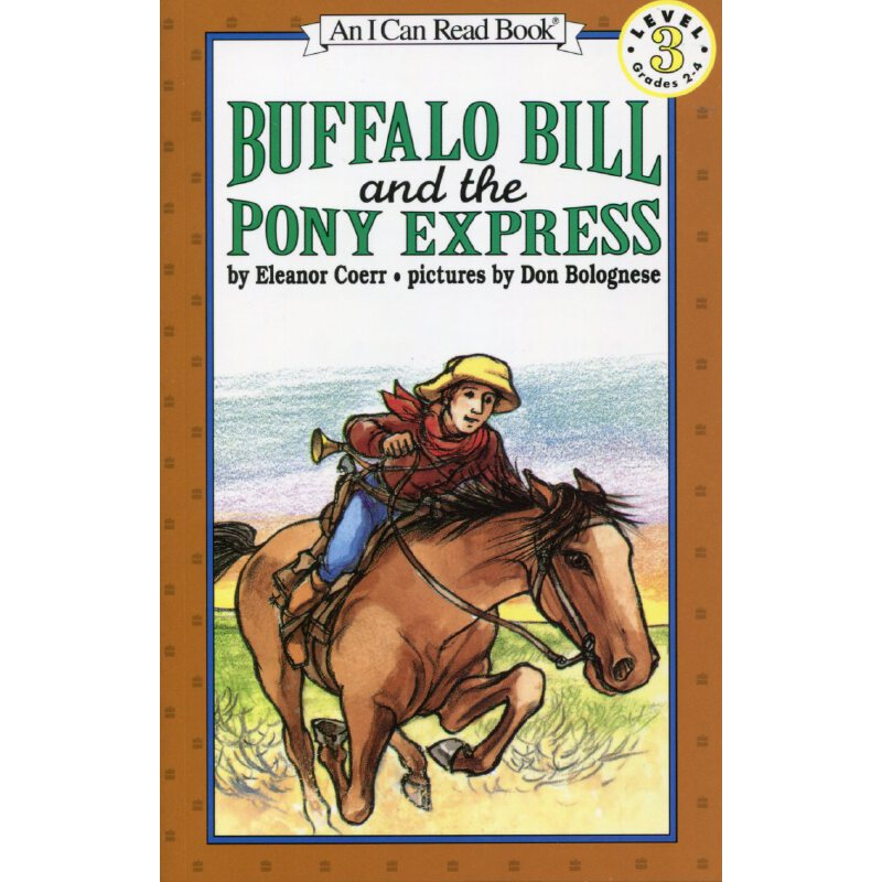 """英文绘本 原版进口 Buffalo Bill and the Pony Express 水牛比尔和小矮马快递 """"水牛""""比尔·科迪作为骑马邮递员的..."""