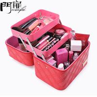 门扉 化妆箱 手提大号化妆包新款多层大容量可爱化妆品箱防水旅行收纳盒便携整理箱