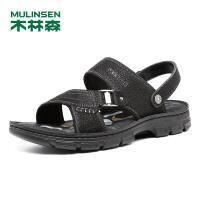 木林森男鞋 2018年夏季头层牛皮两穿休闲凉鞋 05287702