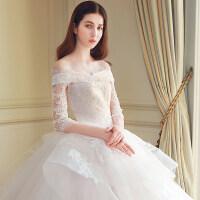 婚纱礼服2018新款欧式新娘结婚冬季一字肩齐地长拖尾韩式公主梦幻 X