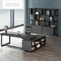 ZUCZUG新款办公家具大班台简约现代老板桌椅组合总裁桌经理主管办公桌