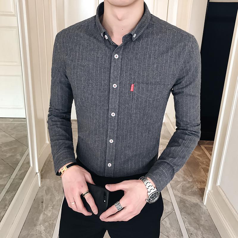 春季新款潮流男装条纹个性小方领休闲衬衫韩版衬衣商务30