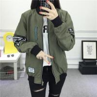 2018 新款港味休闲夹克风衣正反两面两穿棒球服外套女短款修身夹克外套性感潮流 军绿色 两面穿