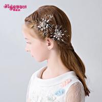 女童发卡饰品头花对夹儿童发夹头饰花童发饰花朵宝宝发梳盘发插梳