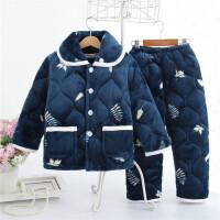 冬季宝宝加厚加绒睡衣2周岁儿童珊瑚绒3男童棉袄4小孩夹棉5套装6