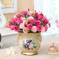 玫瑰仿真花套装客厅装饰花艺 家居饰品摆件摆放花卉假花绢花插花 蔷薇玫瑰04瓶/玫红