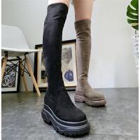 冬季新款绒面弹力靴过膝靴机车靴厚底松糕马丁靴加绒棉靴长靴女鞋