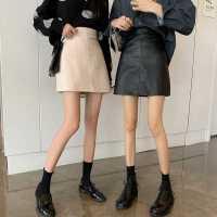 冬季2020新款�n版黑色半身裙女�W生裙子高腰小皮裙包臀a字短裙潮