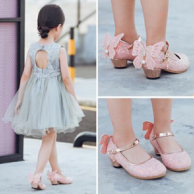 女童皮鞋高跟公主鞋春秋2018新款韩版女童鞋小女孩蝴蝶儿童单鞋女