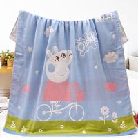 婴儿浴巾宝宝盖被方形儿童空调被夏季薄款新生儿澡巾吸水柔软 单车小猪蓝 4层110*110