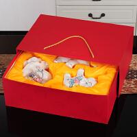 家居生活用品陶瓷大象 夫妻象 对象欧式饰品装饰摆件工艺品结婚礼物礼品 三色花勾鼻象++礼盒