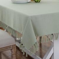 ???桌布布艺棉麻风格纯色餐桌椅垫套装长方形定制流苏茶几台布