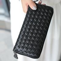 韩版2018春新款潮时尚女士钱包拉链手拿包手工编织长款钱