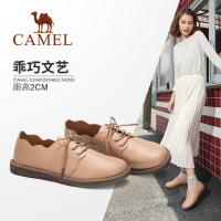 Camel/骆驼女鞋 2018秋季新品 时尚舒适荷叶边复古平跟系带单鞋女