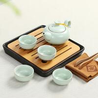 竹制茶具套装陶瓷小茶盘小号干泡茶台日式旅行 整套功夫茶具茶海 8件