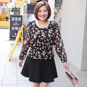 MsShe加大码女装2017新款秋装显瘦蝴蝶结腰带印花雪纺衫M1730096