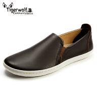 Tigerwolf虎狼公社 日常休闲单鞋驾车鞋男式商务真皮鞋一脚蹬懒人
