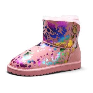 WARORWAR 2019新品YG28-Y37冬季欧美磨砂反绒牛皮真皮皮毛一体平底鞋舒适女鞋潮流时尚潮鞋百搭潮牌雪地靴
